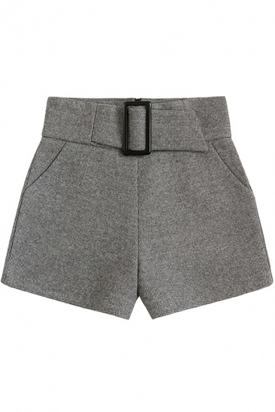 Trendy Womens Shorts Wool Belted Waist Relaxed Fit Solid Color Shorts