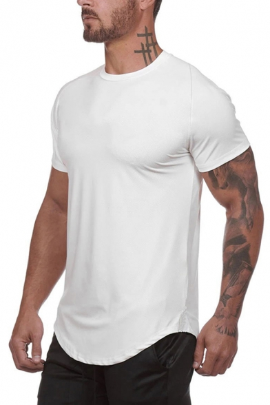 Boys Trendy T Shirt Camo Printed Short Sleeve Crew Neck Curved Hem Fitted Tee