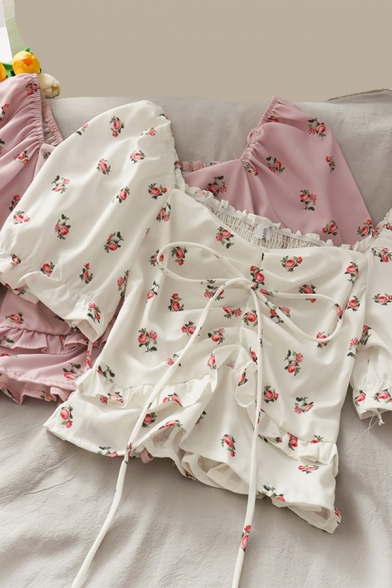Fashionable Women's Shirt Blouse Floral Print Drawstring Front Short Puff Sleeve Square Neck Regular Fitted Shirt Blouse