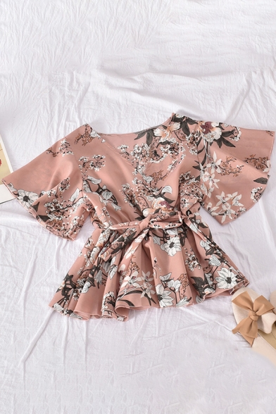 Leisure Women's Shirt Blouse Floral Pattern Wrap Front Short Butterfly Sleeves Shirt Blouse with Waist Tie