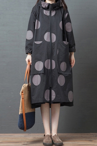 Popular Womens Coat Polka Dot Print Long Sleeve Hooded Zipper Front Longline Oversize Trench Coat