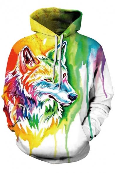 Retro Men's Hoodie Graffiti Wolf 3D Pattern Front Pocket Long Sleeve Drawstring Hooded Sweatshirt