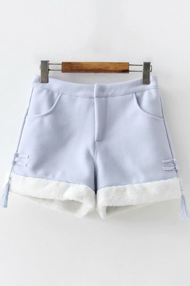 Thick Warm Women's Shorts Tassel Detail Zip Fly Fleece Trim Brush Lined Fitted Shorts