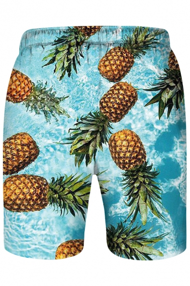 Funny Cute Glasses Pineapple Printed Drawstring Waist Mens Quick Drying Blue Swim Shorts