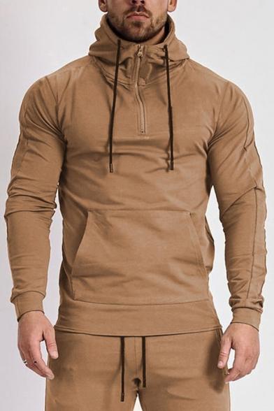Leisure Mens Hoodie Long Sleeve Plain Pouch Pocket Regular Fit Hoodie