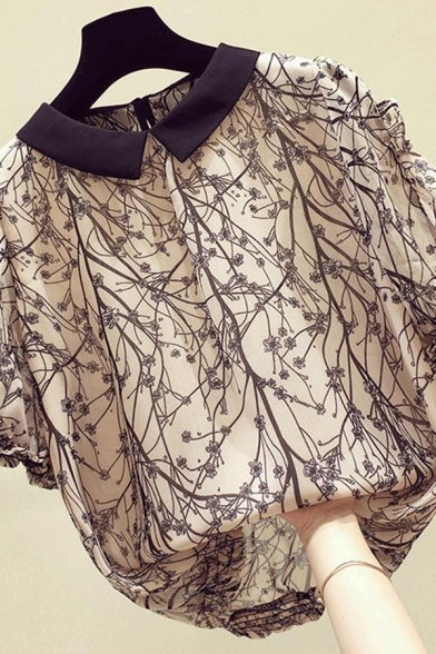 Leisure Women's Shirt Blouse Tree Branch Plaid Pattern Ruffle Hem Contrast Trim Short Sleeve Relaxed Fit Pullover Shirt Blouse