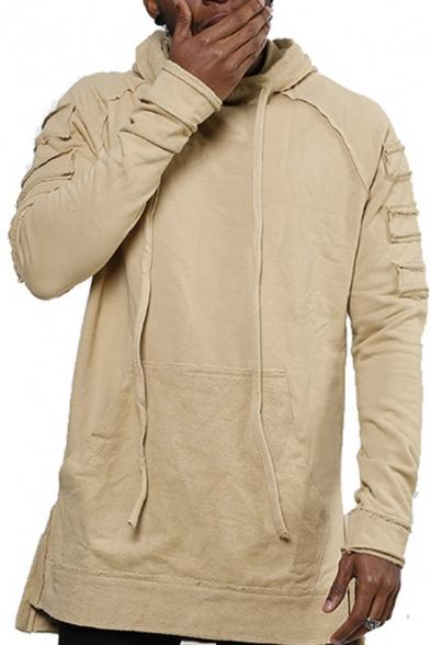 Stylish Men's Hoodie Front Pocket Long Sleeves Raw Hem Raglan Regular Fitted Drawstring Hooded Sweatshirt