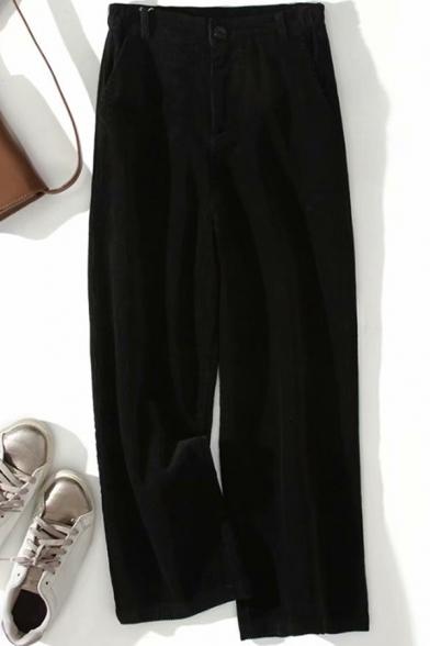 Unique Women's Pants Solid Color Corduroy Zip Fly Long Wide Leg Pants