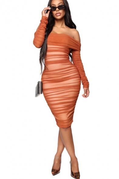 Elegant Womens Dress Plain Ruched Long Sleeve Off the Shoulder Mid Tight Dress