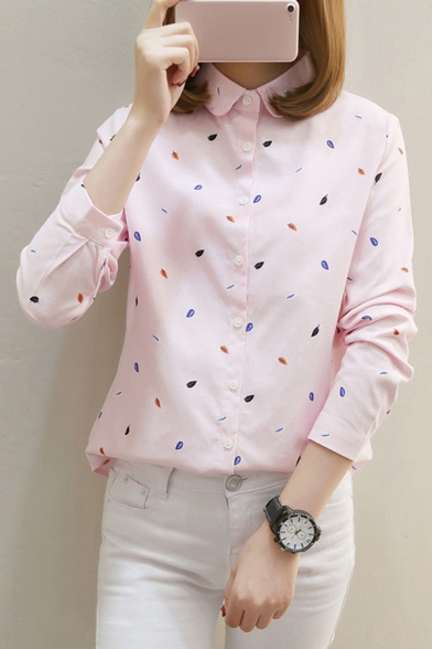 Leisure Women's Shirt Blouse Graphic Pattern Button Fly Turn-down Collar Long Sleeves Regular Fitted Shirt Blouse