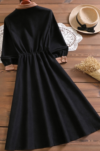 Lovely Dress Patched Long Sleeve Bow-tied Neck Button Up Mid A-line Shirt Dress for Girls