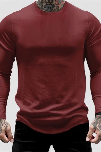Mens Simple T Shirt Plain Long Sleeve Crew Neck Curved Hem Relaxed T Shirt