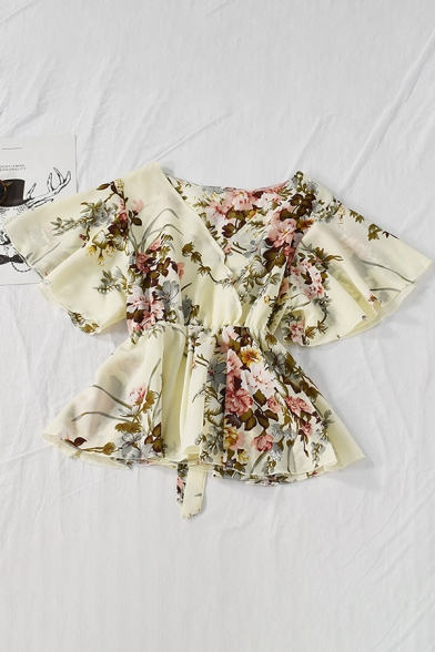 Trendy Women's Shirt Blouse Floral Printed Banded Cuffs Wrap Front Long Butterfly Sleeve Regular Fitted Shirt Blouse