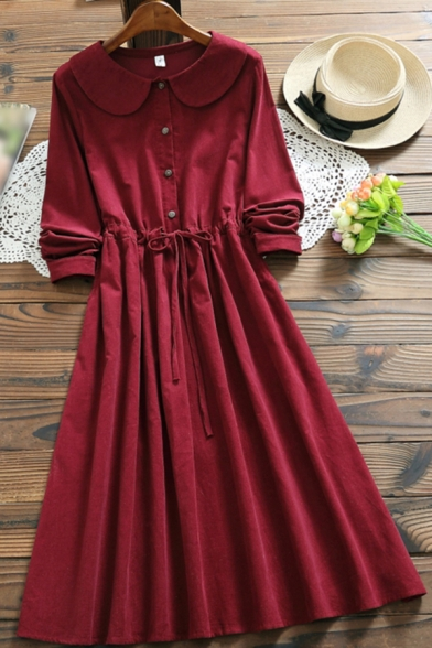 Vintage Girls Dress Plain Long Sleeve Peter Pan Collar Button Up Drawstring Waist Mid A-line Dress in Red