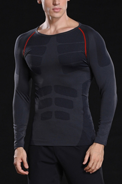Active Mens T Shirt Contrast Pipe Long Sleeve Crew Neck Slim Fitted T Shirt