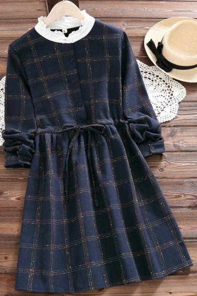 Cute Womens Dress Plaid Print Long Sleeve Patched Mock Neck Drawstring Waist Short A-line Dress in Dark Blue