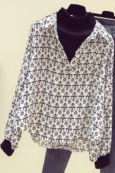 Fancy Women's Shirt Graphic Pattern V Neck Spread Collar Contrast Trim Long Sleeves Regular Fitted Shirt