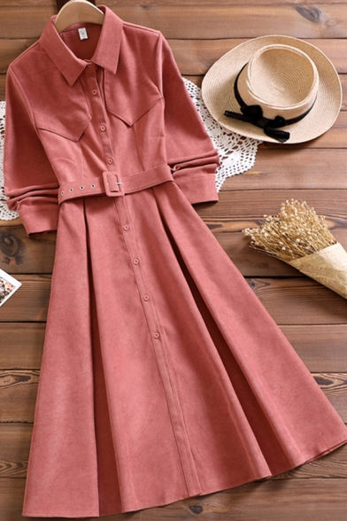 Simple Womens Dress Solid Color Long Sleeve Point Collar Button Up Belted Mid A-line Shirt Dress in Pink