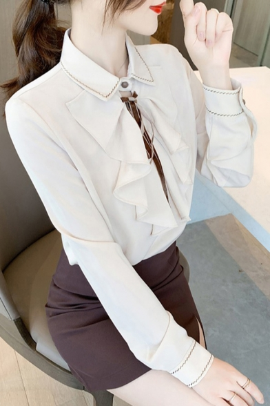 Simple Womens Shirt Contrast Stitch Long Sleeve Turn-down Collar Ruffled Trim Relaxed Shirt Top in Apricot