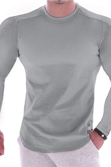 Basic Mens T Shirt Solid Color Long Sleeve Crew Neck Fit Tee Top