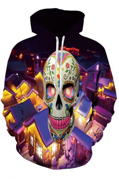 Cozy Men's Hoodie Skull Digital 3D Pattern Pocket Long Sleeve Drawstring Hooded Sweatshirt