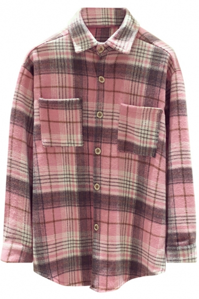 Fashionable Women's Shirt Plaid Print Button Fly Chest Pockets Turn-down Collar Long Sleeves Relaxed Fit Shirt