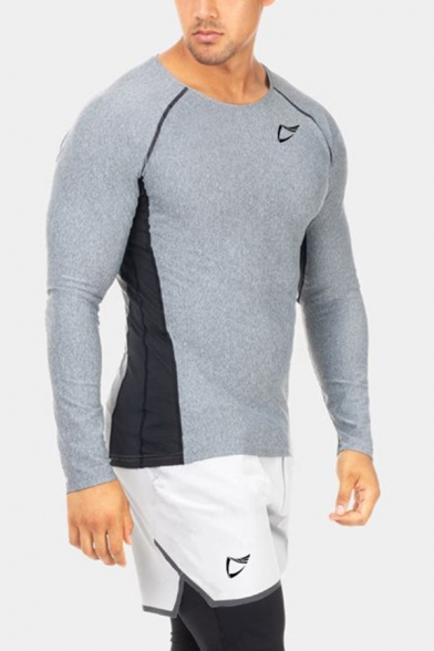 Gym Boys T Shirt Quick Dry Contrasted Long Sleeve Crew Neck Slim Fit Tee Top