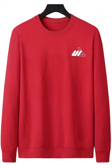 Simple Mens Sweatshirt Logo Print Long Sleeve Crew Neck Loose Pullover Sweatshirt