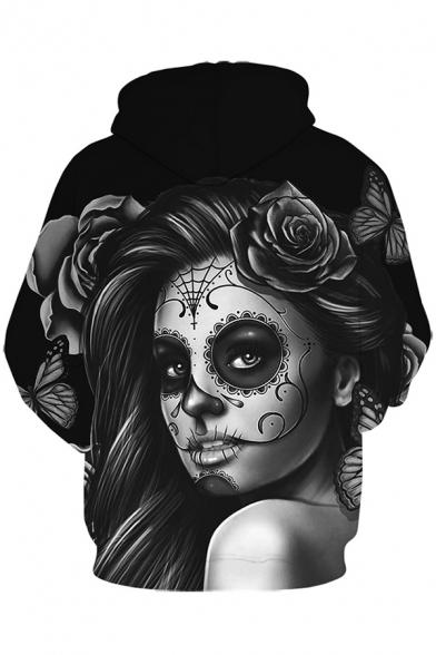 Street Mens Hoodie Figure Floral 3D Pattern Long Sleeve Drawstring Pouch Pocket Loose Fit Hoodie in Black
