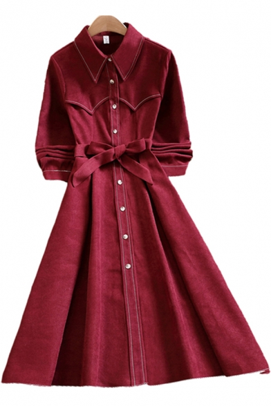 Trendy Womens Dress Contrast Piped Long Sleeve Point Collar Button Up Bow-tied Waist Mid A-line Shirt Dress in Red