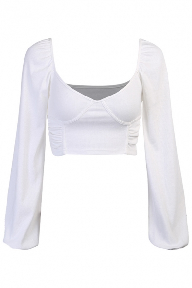 Edgy Girls' Sheer Blouson Sleeve V-Neck Polka Dot Ruched Back See-Through White Mesh Stringy Selvedge Fit Crop Blouse