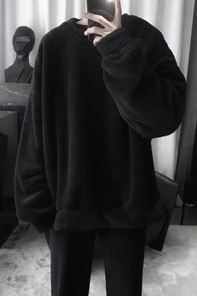 Fashionable Men's Sweatshirt Lamb Wool Solid Color Round Neck Long Sleeve Loose Fitted Sweatshirt