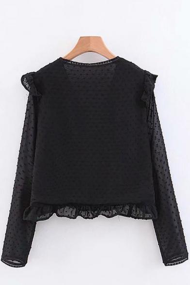 Girls Stylish Black Shirt See-through Mesh Polka Dot Long Sleeve Deep V-neck Ruffled Relaxed Fit Shirt