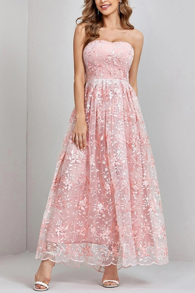 Pretty Womens Dress Applique Off the Shoulder Strapless Maxi A-line Tube Dress in Pink