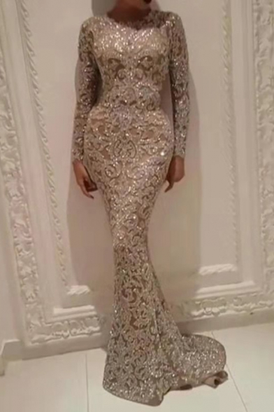 Trendy Womens Dress See-through Mesh Sequins Decoration Long Sleeve Crew Neck Maxi Fishtail Dress