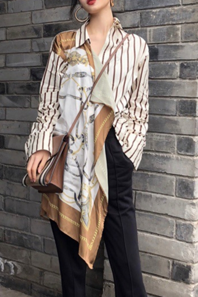 Trendy Womens Shirt Baroque Printed Patched Striped Long Sleeve Spread Collar Button Up Belted Longline Regular Shirt Top in White
