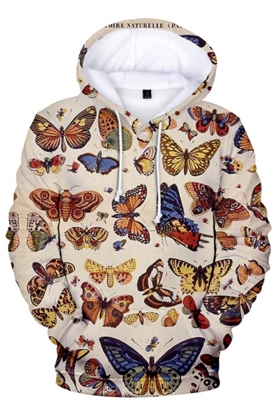 Unique Mens Hoodie Caterpillar Dragonfly Butterfly Abstract Light Painted 3D Pattern Drawstring Long Sleeve Regular Fitted Hoodie with Pocket