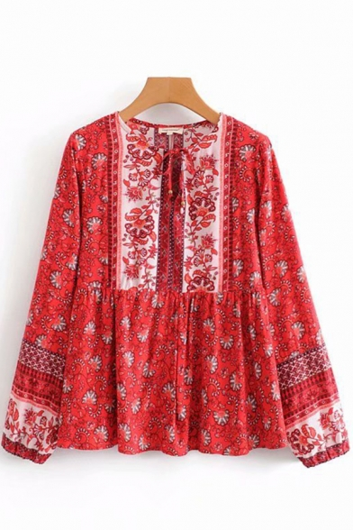 Womens Ethnic Shirt Floral Printed Long Sleeve Round Neck Tied Front Ruffled Loose Shirt