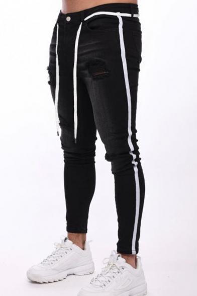 Men's New Stylish Cool Stripe Side Ripped Skinny Jeans in Black