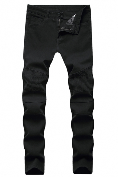 Men's New Fashion Simple Plain Skinny Fit Pleated Black Moto Jeans