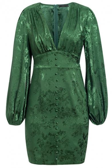 Plain Fashionable Lantern Sleeve Deep V Neck Button Up Dark Green Mini Jacquard Dress for Evening Party