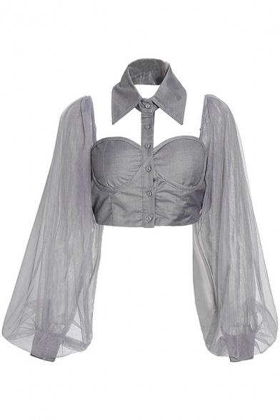 Pretty Womens Shirt See-through Mesh Blouson Sleeve Point Collar Button Up Fit Crop Shirt Top in Gray