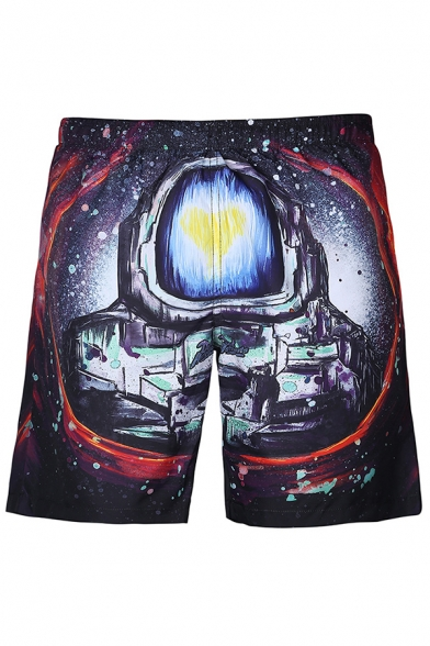 Cool 3D Galaxy Astronaut Print Summer Drawstring Waist Casual Swim Trunks for Men
