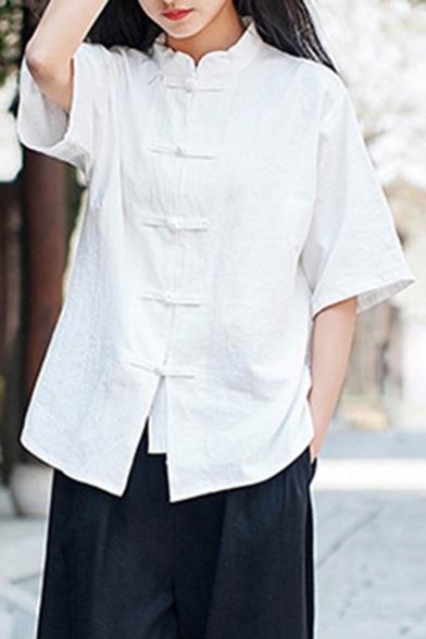 Retro Womens Shirt Plain Short Sleeve Mandarin Collar Frog Button Relaxed Fit Shirt Top