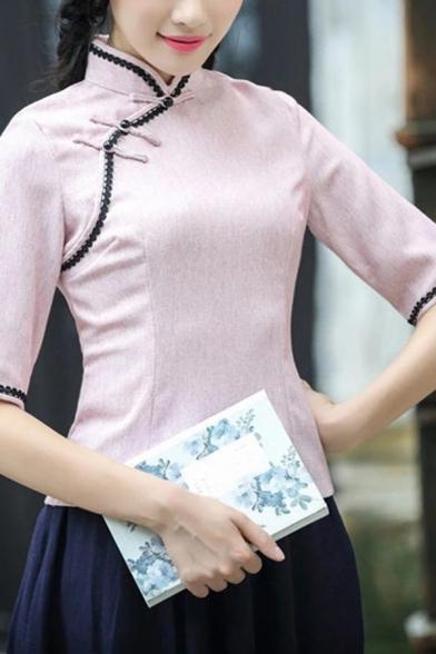 Traditional Womens Shirt Contrast Trims Frog Buttons Detailed Half Sleeve Mandarin Collar Fitted Cheongsam-Top