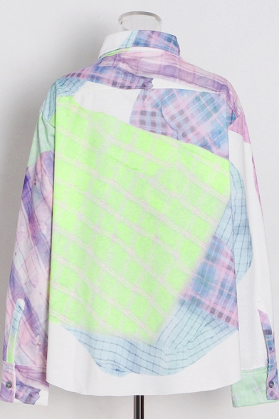 Casual Womens Shirt Plaid Printed Long Sleeve Point Collar Button Up Loose Fit Shirt in Pink