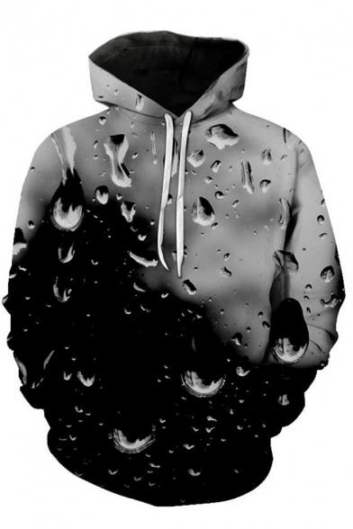 Fancy Men's Hoodie Water Drop 3D Pattern Front Pocket Long Sleeve Drawstring Hooded Sweatshirt