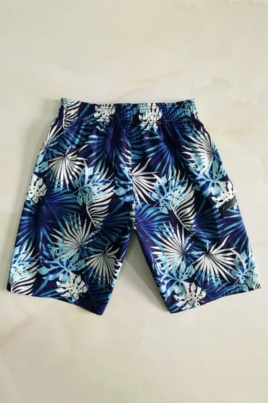 Fancy Men's Navy Blue Floral Tropical Plant Swim Bathing Shorts with Back Flap Pockets