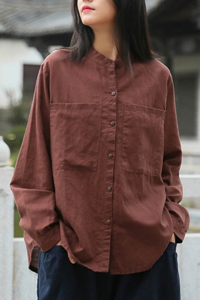 Leisure Womens Shirt Linen and Cotton Long Sleeve Button Up Loose Fit Solid Color Shirt Top