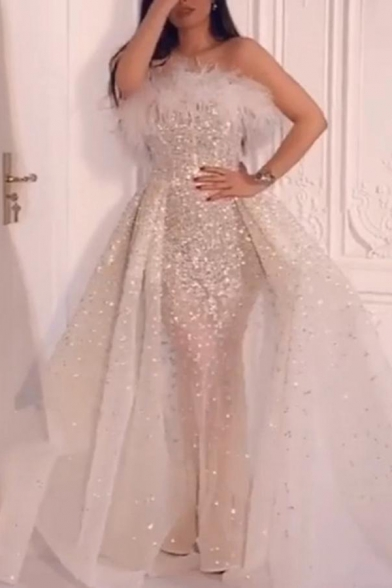Lovely Womens Dress Off the Shoulder Fluffy Sequins Embellished Strapless Ruched Patchwork Maxi Flared Dress in Silver